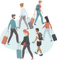 passengers with luggage flat vector image