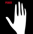 peaceful sign open palm peace symbol vector image vector image