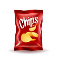 realistic mockup package of red chips package with vector image
