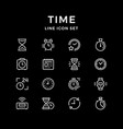 Set line icons of time