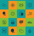 set of 16 eco-friendly icons includes world vector image vector image