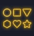 set yellow glowing neon frames on dark vector image