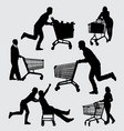 shopping male and female action silhouette vector image vector image