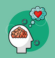 silhouette man brain love creative idea vector image
