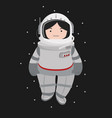 small girl astronaut helmet in a space vector image