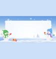 snowmen snowy frame vector image
