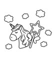 unicorn and magic wand black and white vector image vector image