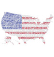 us map shaped on lined american national flag vector image