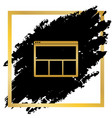 web window sign golden icon at black spot vector image vector image