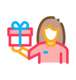 woman with gift icon outline vector image vector image