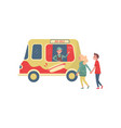 young couple near hot-dog truck cheerful seller vector image