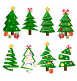 different christmas tree set isolated vector image