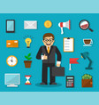 businessman and things for work vector image