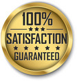 100 satisfaction guaranteed gold label vector image vector image