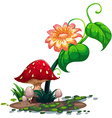A flowering plant and mushrooms vector image