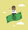 african businessman riding flying money vector image vector image