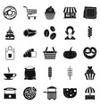 afternoon snack icons set simple style