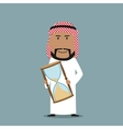 Arabian businessman with time out hourglass vector image