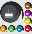Birthday cake icon sign Symbols on eight colored vector image vector image