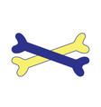 bones in cross danger symbol to caution alert vector image vector image