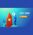 businessman launches rocket into the sky employee vector image vector image