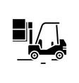cargo machine black icon concept vector image vector image