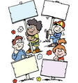 cartoon some happy children holding signs vector image