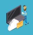 cloud storage cartoon vector image