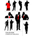 collection of people silhouette speaking by vector image