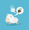 color background of cute sheep thinking in the vector image