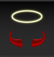 devil horns and shining angel nimbus heaven