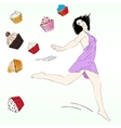 Diet concept with Fancy Sketchy Cupcakes vector image