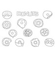 donuts elements hand drawn set coloring book vector image vector image
