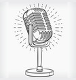 doodle podcasting microphone hand drawing sketch vector image