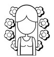 figure woman peace and love relax vector image vector image