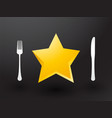 fork knife and yellow stars vector image vector image
