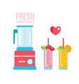 fresh smoothie and blender summer drinks vector image