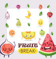 fruit icons funny cartoon characters vector image