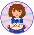 girl with sweet cake vector image vector image