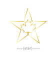 golden star with canadian maple leaf on white vector image vector image