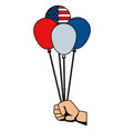 hand with balloons helium floating usa flag vector image vector image