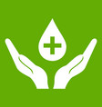 hands holding blood drop icon green vector image vector image