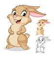 happy rabbit cartoon character design vector image vector image