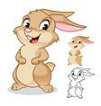 happy rabbit cartoon character design vector image
