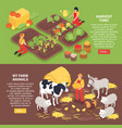 isometric farm banners vector image vector image