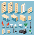 Isometric office funiture set vector image vector image
