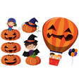 jack-o-lantern and kids in costume vector image