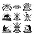 labels and badges set for hunting club monochrome