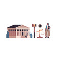 law and justice set female lawyer and courthouse vector image vector image