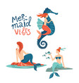 mermaid marine life hand drawn flat characters vector image